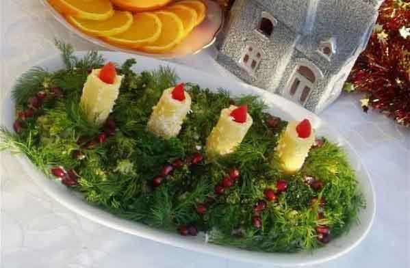 Салат Свечи в Новогоднюю ночь